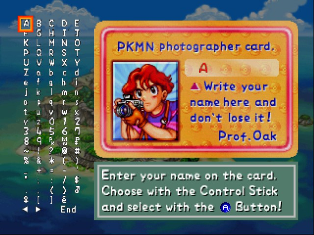 Pokemon Snap - Character Select  - Naming your character - User Screenshot